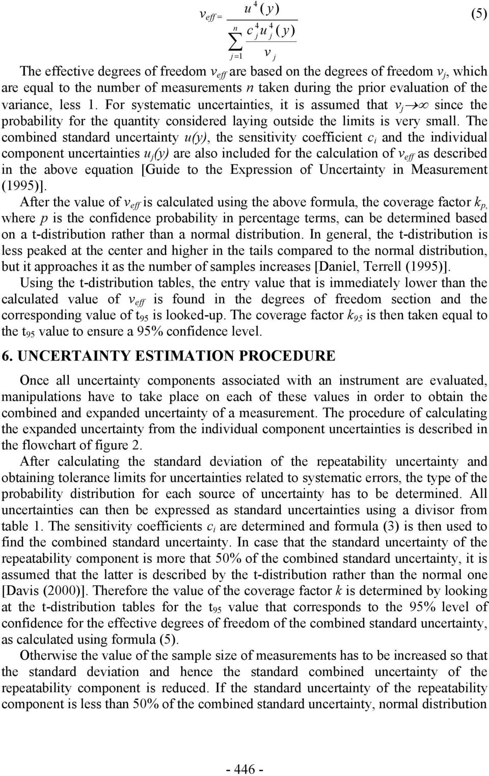 The combined standard uncertainty u(y), the sensitivity coefficient c i and the individual component uncertainties u j (y) are also included for the calculation of v eff as described in the above