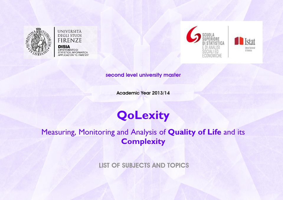 Monitoring and Analysis of Quality of