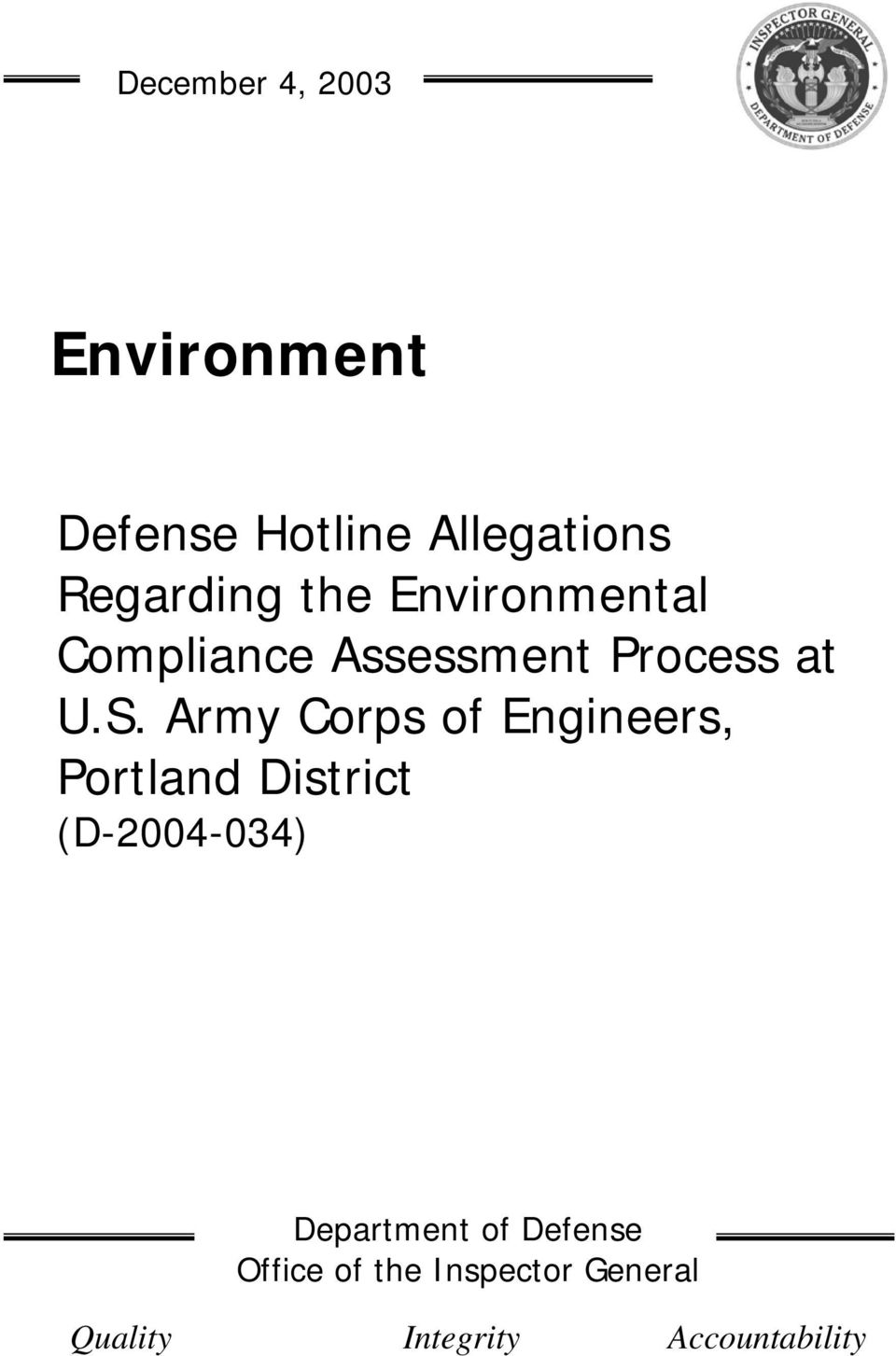 Army Corps of Engineers, Portland District (D-2004-034) Department