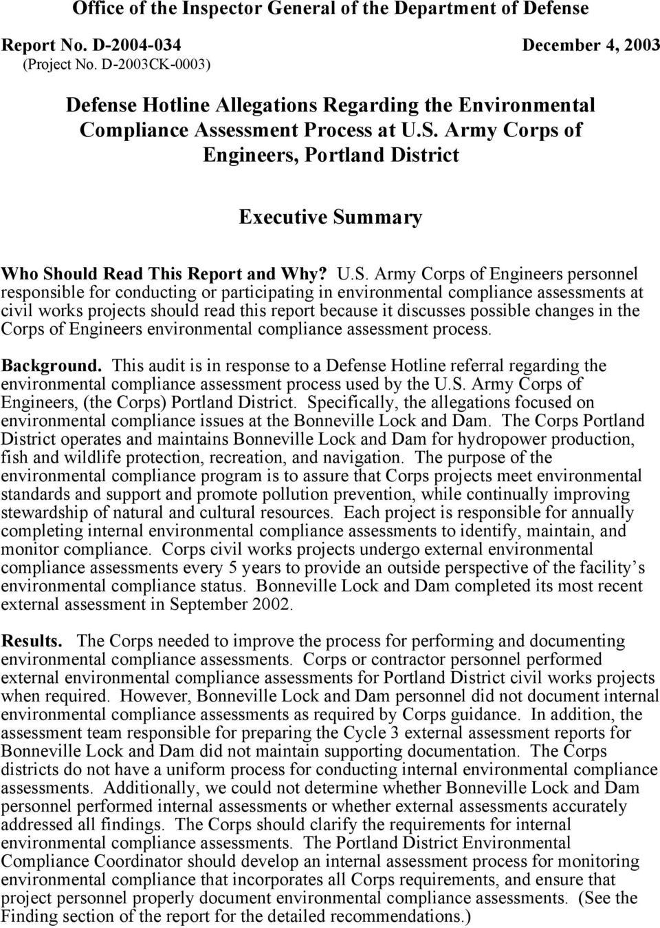 Army Corps of Engineers, Portland District Executive Su