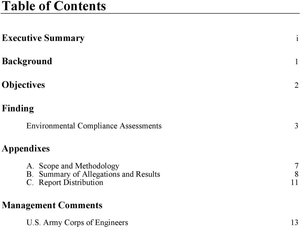 Scope and Methodology 7 B. Summary of Allegations and Results 8 C.