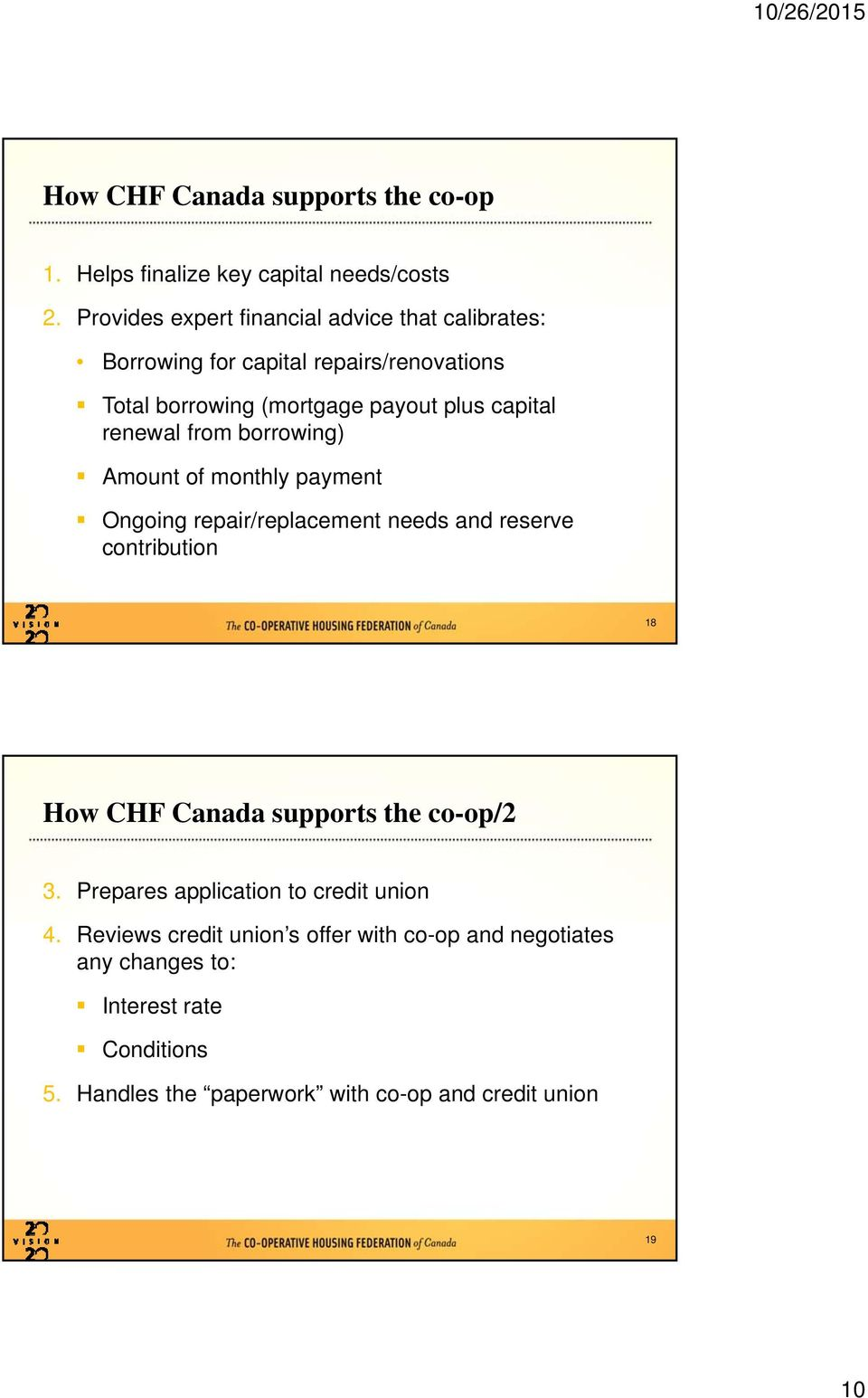 renewal frm brrwing) Amunt f mnthly payment Onging repair/replacement needs and reserve cntributin 18 Hw CHF Canada supprts the
