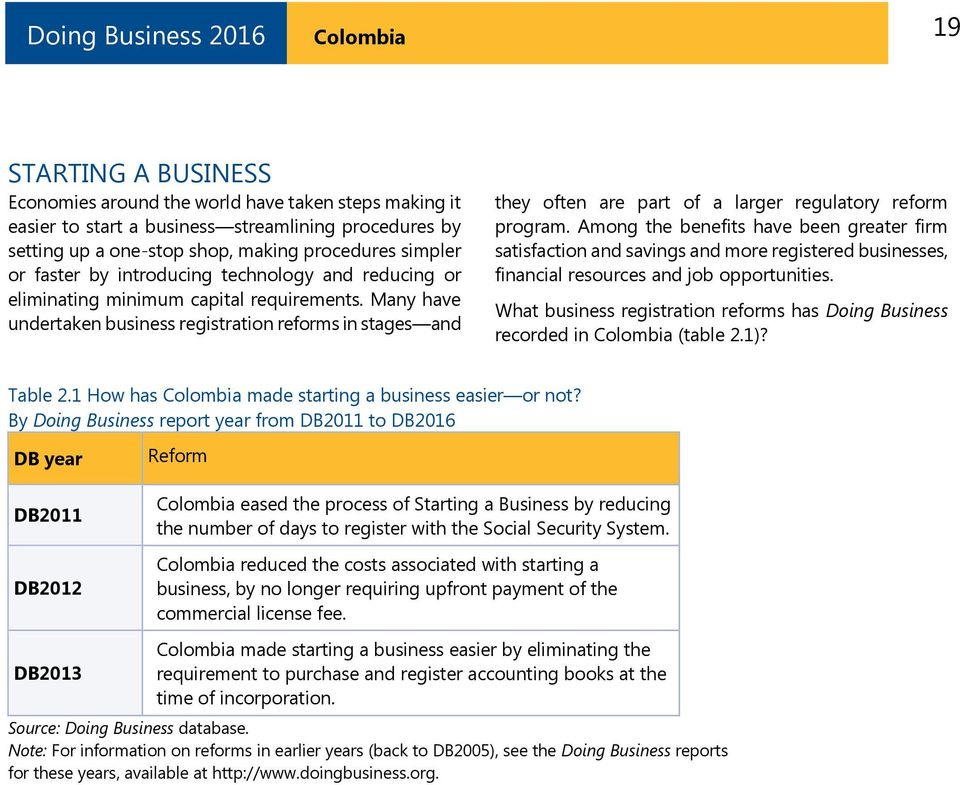 Many have undertaken business registration reforms in stages and they often are part of a larger regulatory reform program.