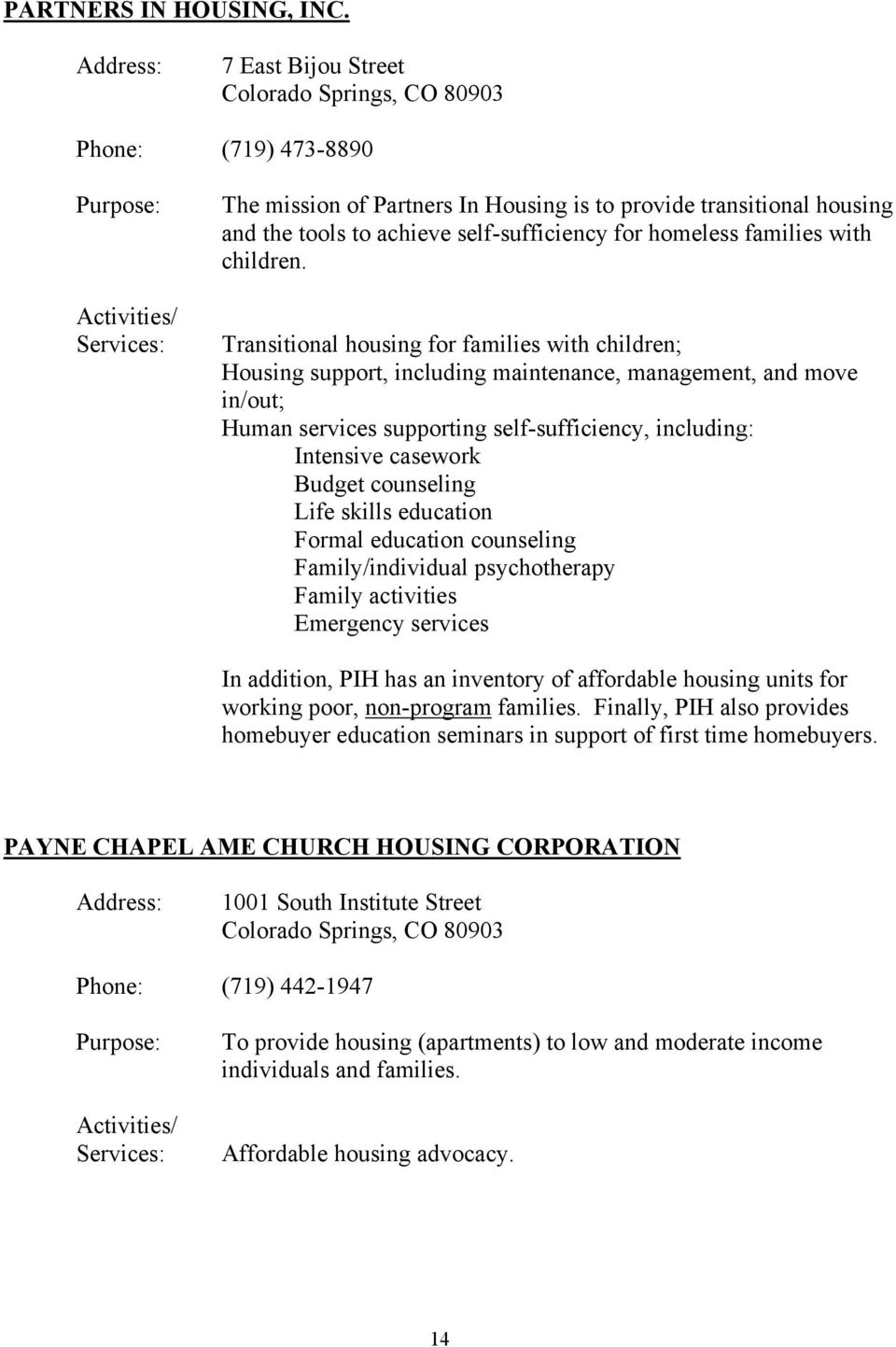Transitional housing for families with children; Housing support, including maintenance, management, and move in/out; Human services supporting self-sufficiency, including: Intensive casework Budget