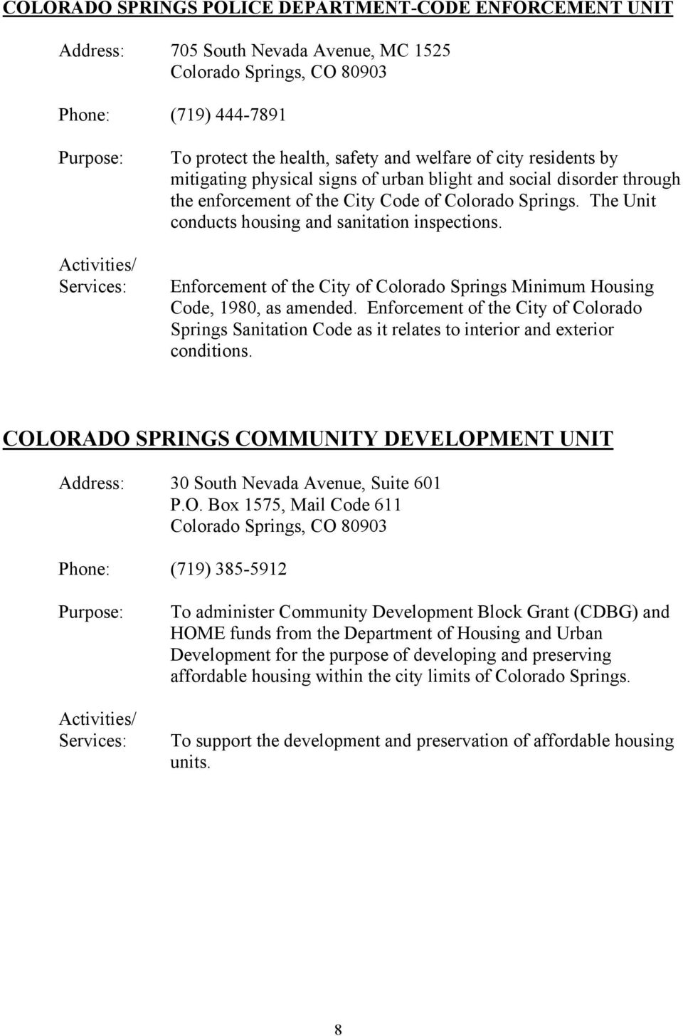Enforcement of the City of Colorado Springs Minimum Housing Code, 1980, as amended. Enforcement of the City of Colorado Springs Sanitation Code as it relates to interior and exterior conditions.