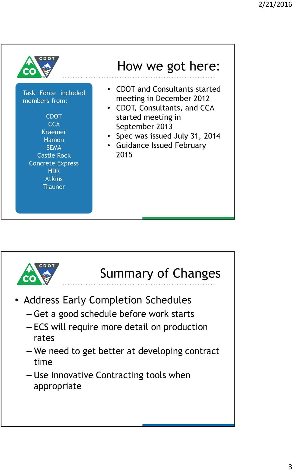 Guidance Issued February 2015 Summary of Changes Address Early Completion Schedules Get a good schedule before work starts ECS will