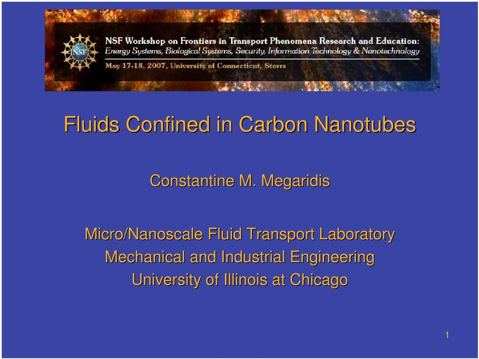 Megaridis Micro/Nanoscale Fluid Transport