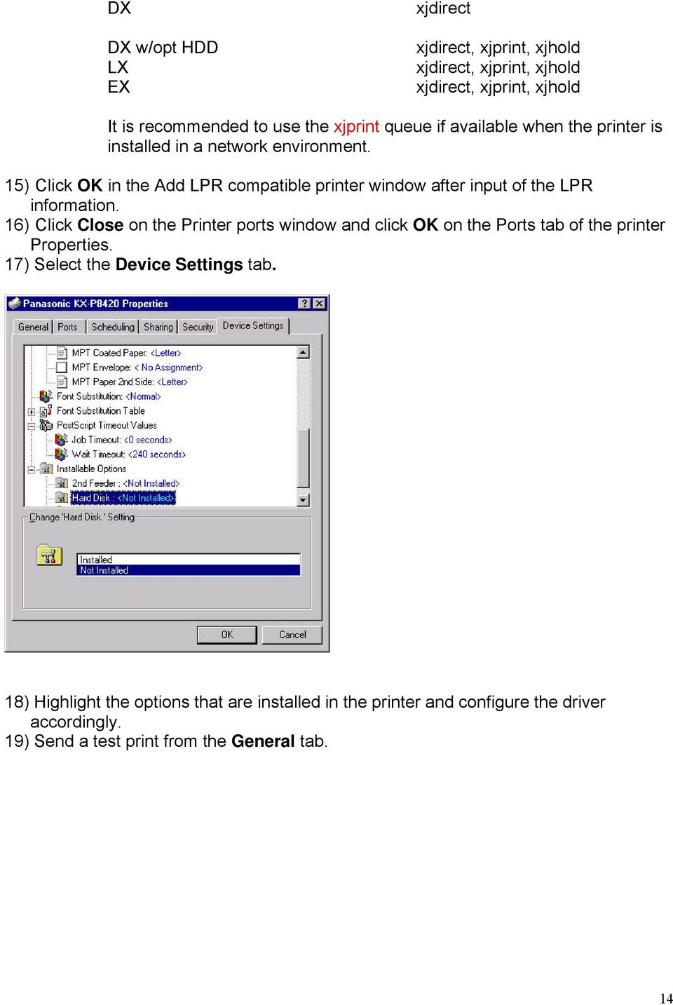 15) Click OK in the Add LPR compatible printer window after input of the LPR information.