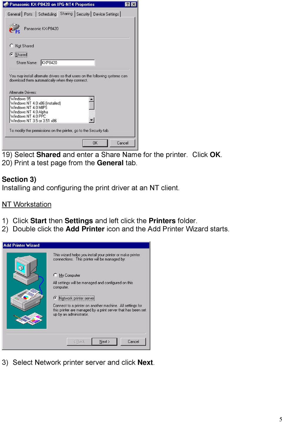 Section 3) Installing and configuring the print driver at an NT client.