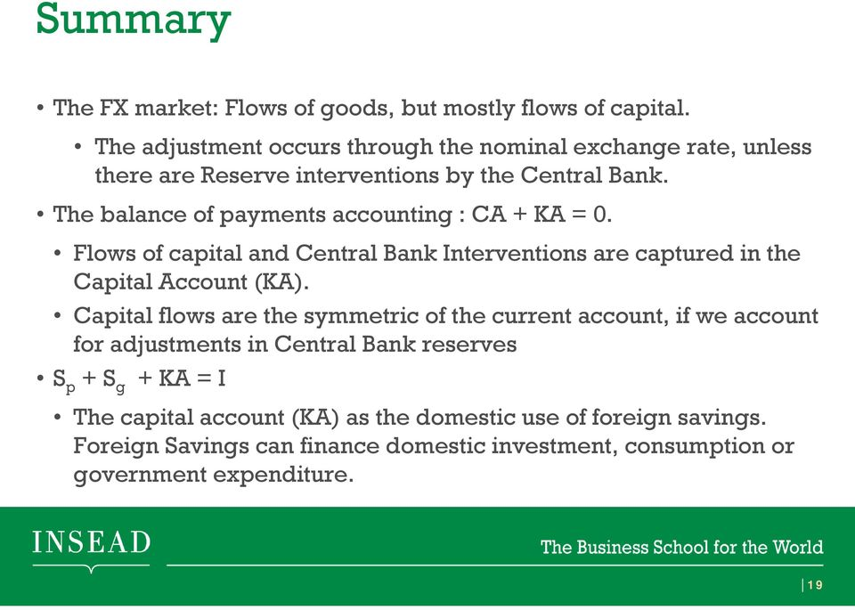 The balance of payments accounting : CA + KA = 0. Flows of capital and Central Bank Interventions are captured in the Capital Account (KA).