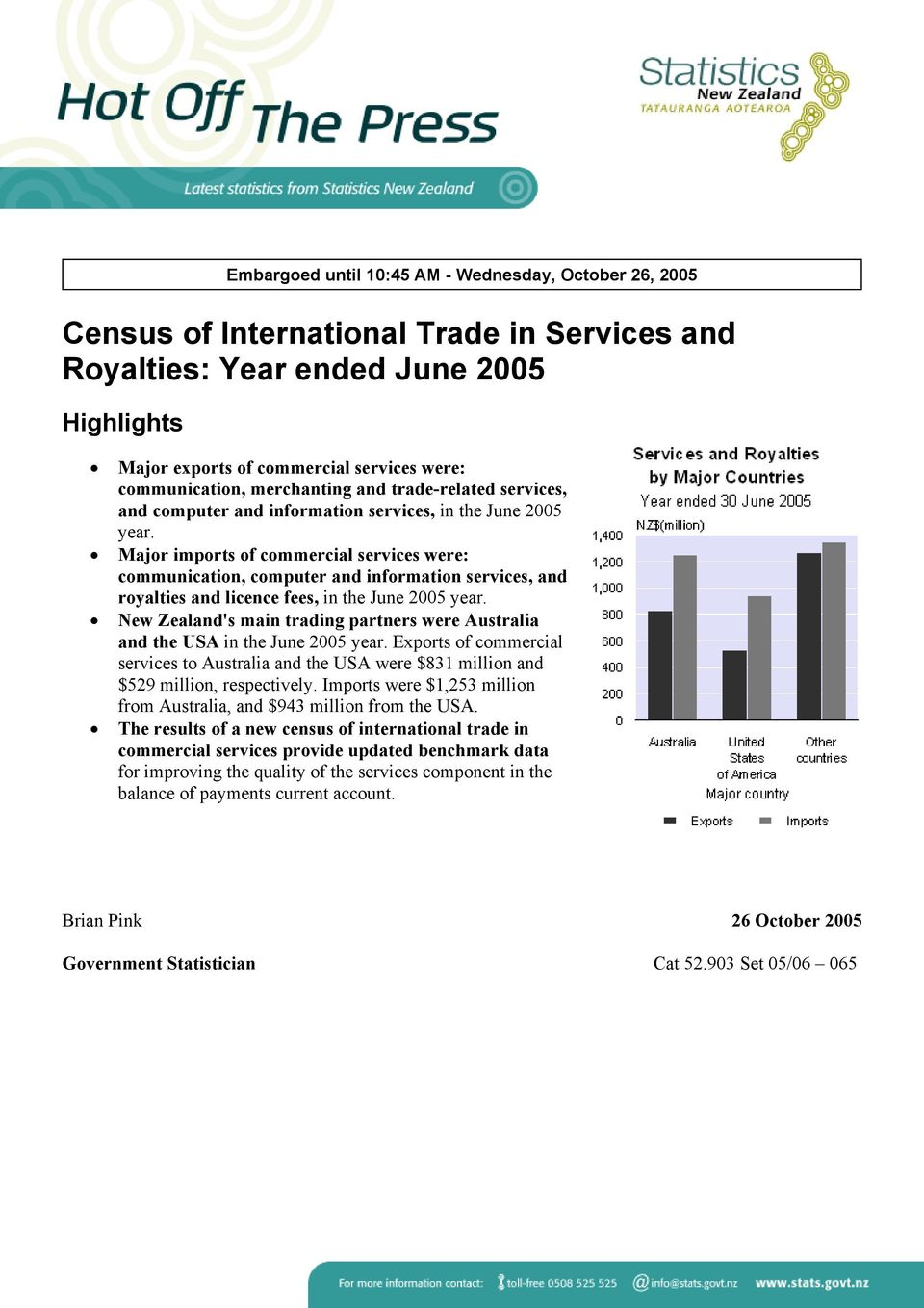 Major imports of commercial services were: communication, computer and information services, and royalties and licence fees, in the June 2005 year.