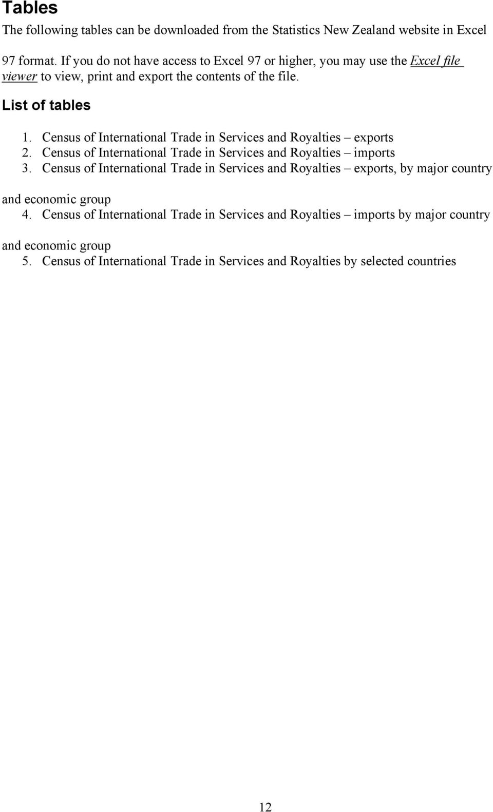 Census of International Trade in Services and Royalties exports 2. Census of International Trade in Services and Royalties imports 3.