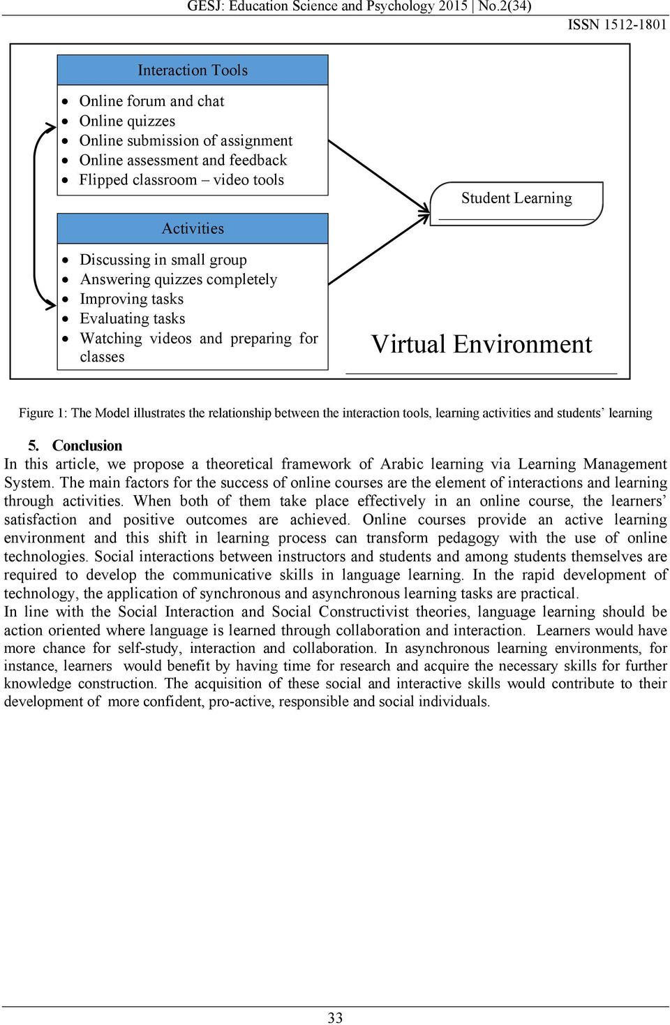 interaction tools, learning activities and students learning 5. Conclusion In this article, we propose a theoretical framework of Arabic learning via Learning Management System.