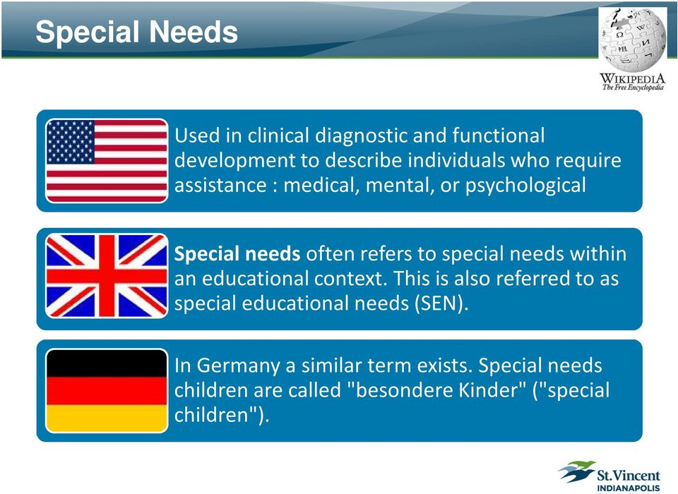 within an educational context. This is also referred to as special educational needs (SEN).