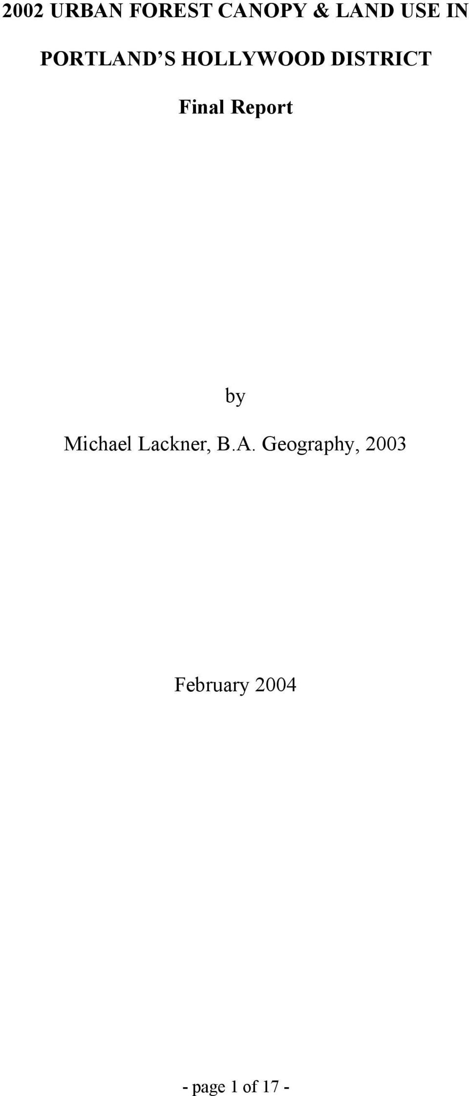 Report by Michael Lackner, B.A.