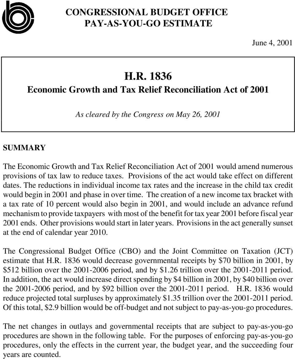 1836 Economic Growth and Tax Relief Reconciliation Act of 2001 As cleared by the Congress on May 26, 2001 SUMMARY The Economic Growth and Tax Relief Reconciliation Act of 2001 would amend numerous