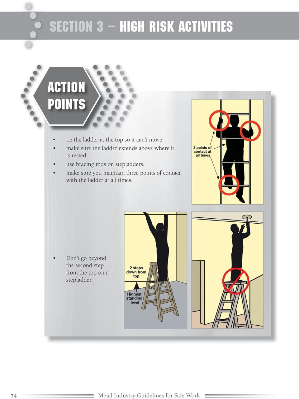 make sure you maintain three points of contact with the ladder at all times.