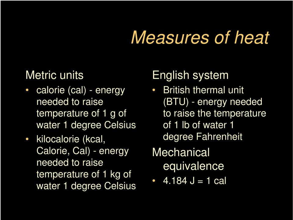 of 1 kg of water 1 degree Celsius English system British thermal unit (BTU) - energy needed