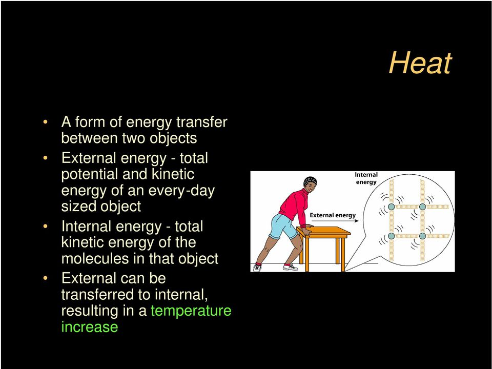 energy - total kinetic energy of the molecules in that object