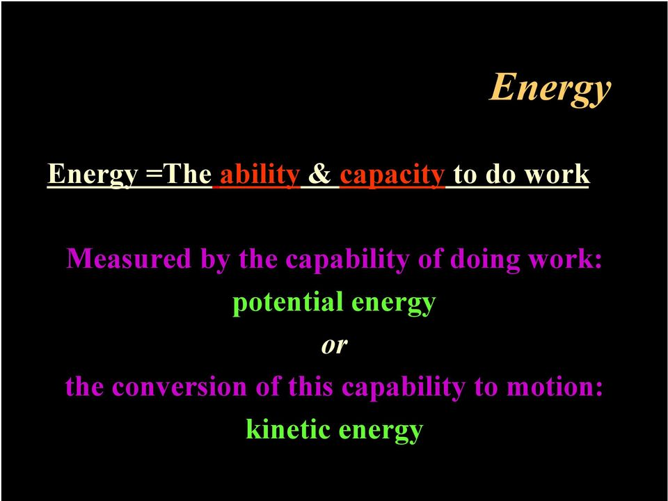 doing work: potential energy or the