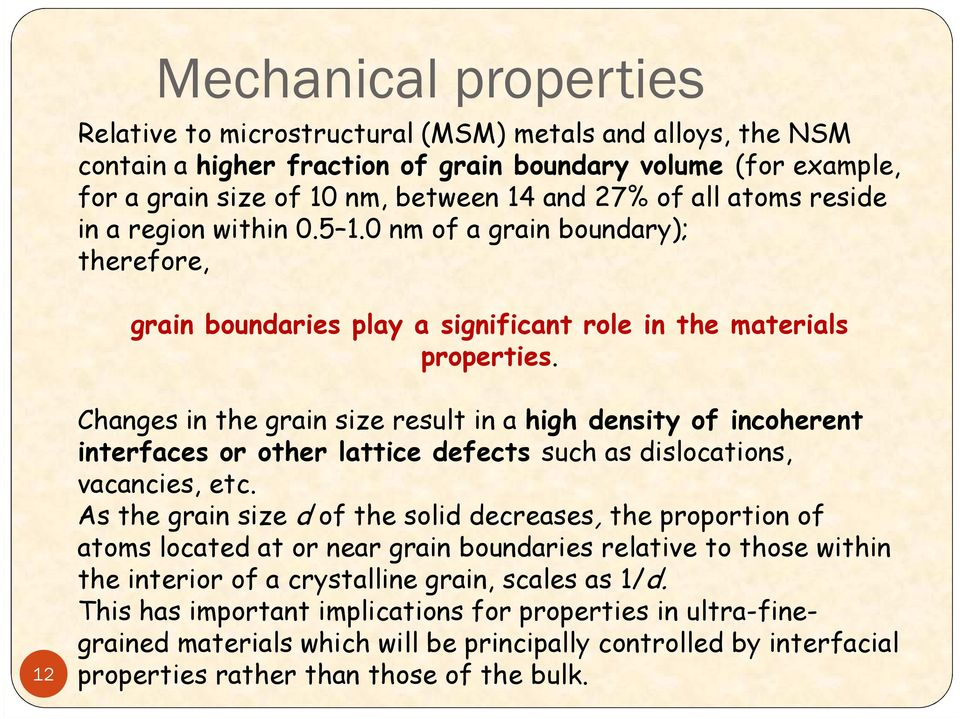 12 Changes in the grain size result in a high density of incoherent interfaces or other lattice defects such as dislocations, vacancies, etc.