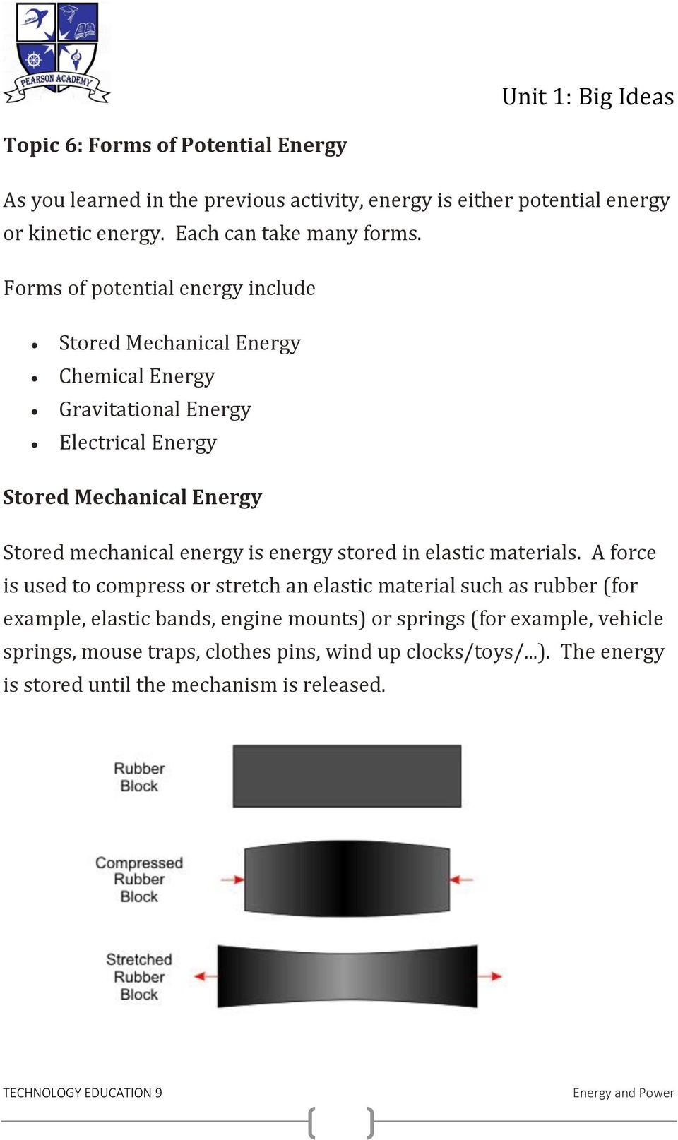 mechanical energy is energy stored in elastic materials.