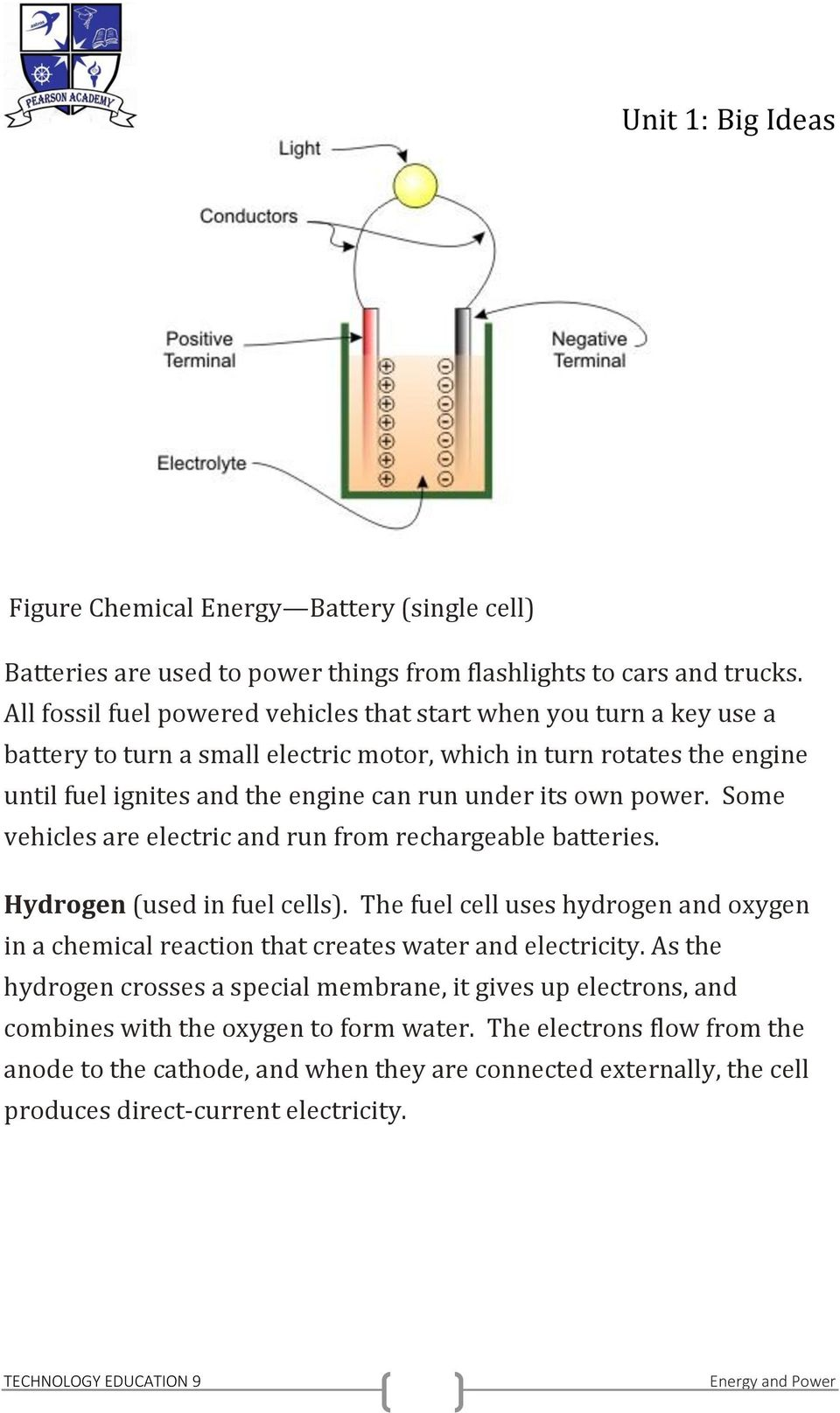 its own power. Some vehicles are electric and run from rechargeable batteries. Hydrogen (used in fuel cells).