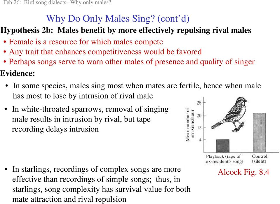 songs serve to warn other males of presence and quality of singer Evidence: In some species, males sing most when mates are fertile, hence when male has most to lose by intrusion of rival male