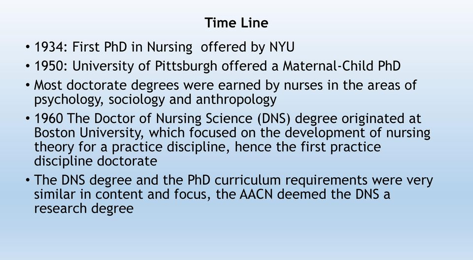 at Boston University, which focused on the development of nursing theory for a practice discipline, hence the first practice discipline