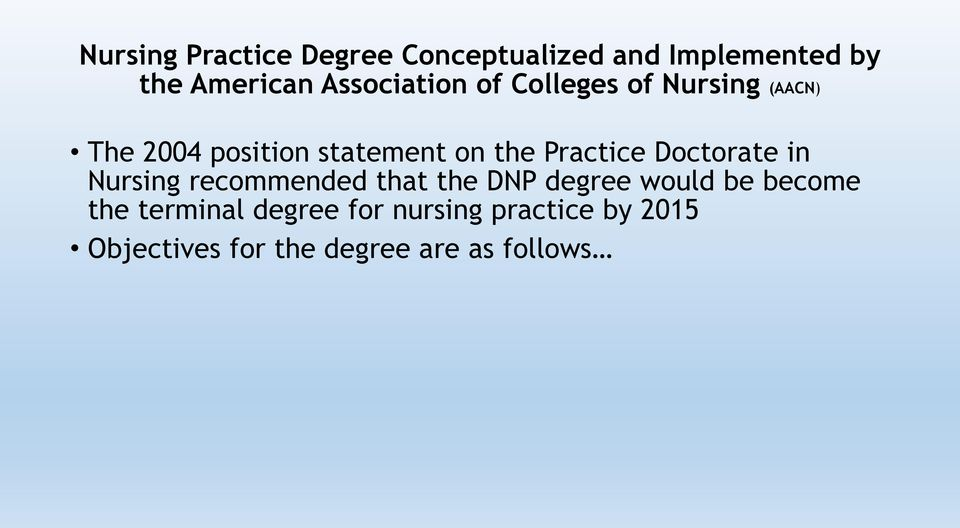 Practice Doctorate in Nursing recommended that the DNP degree would be become