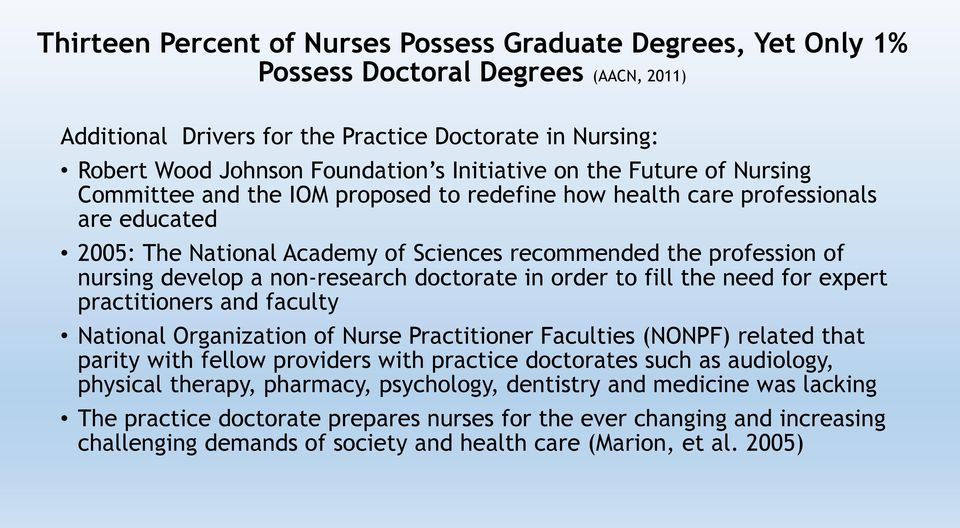 develop a non-research doctorate in order to fill the need for expert practitioners and faculty National Organization of Nurse Practitioner Faculties (NONPF) related that parity with fellow providers
