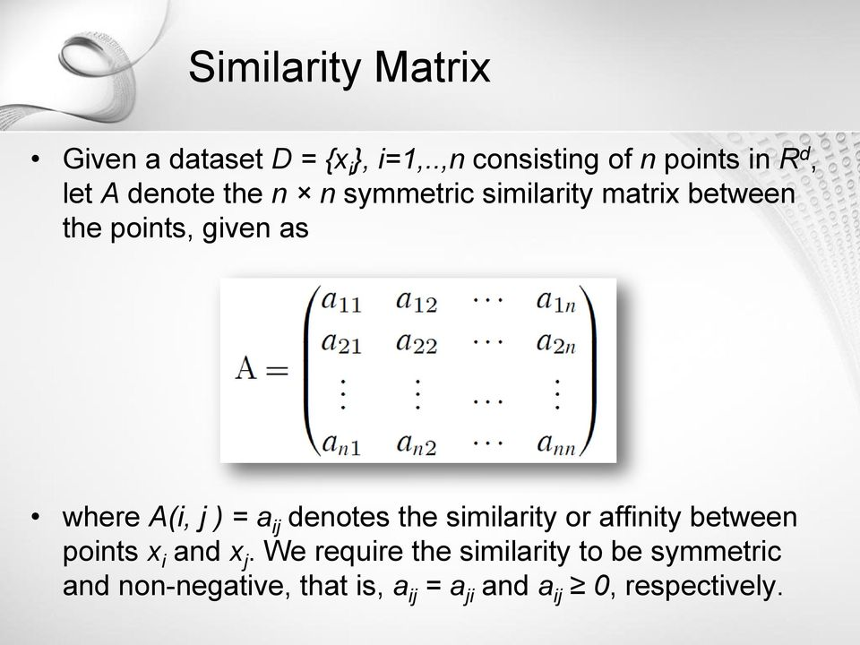 between the points, given as where A(i, j ) = a ij denotes the similarity or affinity