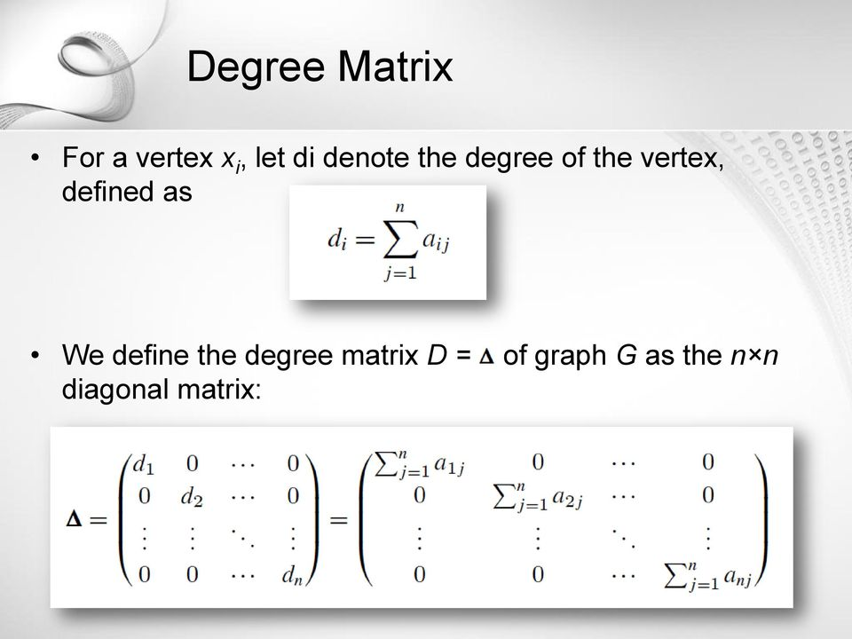 defined as We define the degree matrix