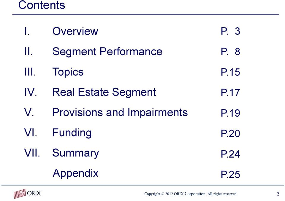 Provisions and Impairments P.19 VI. VII. Funding Summary P.