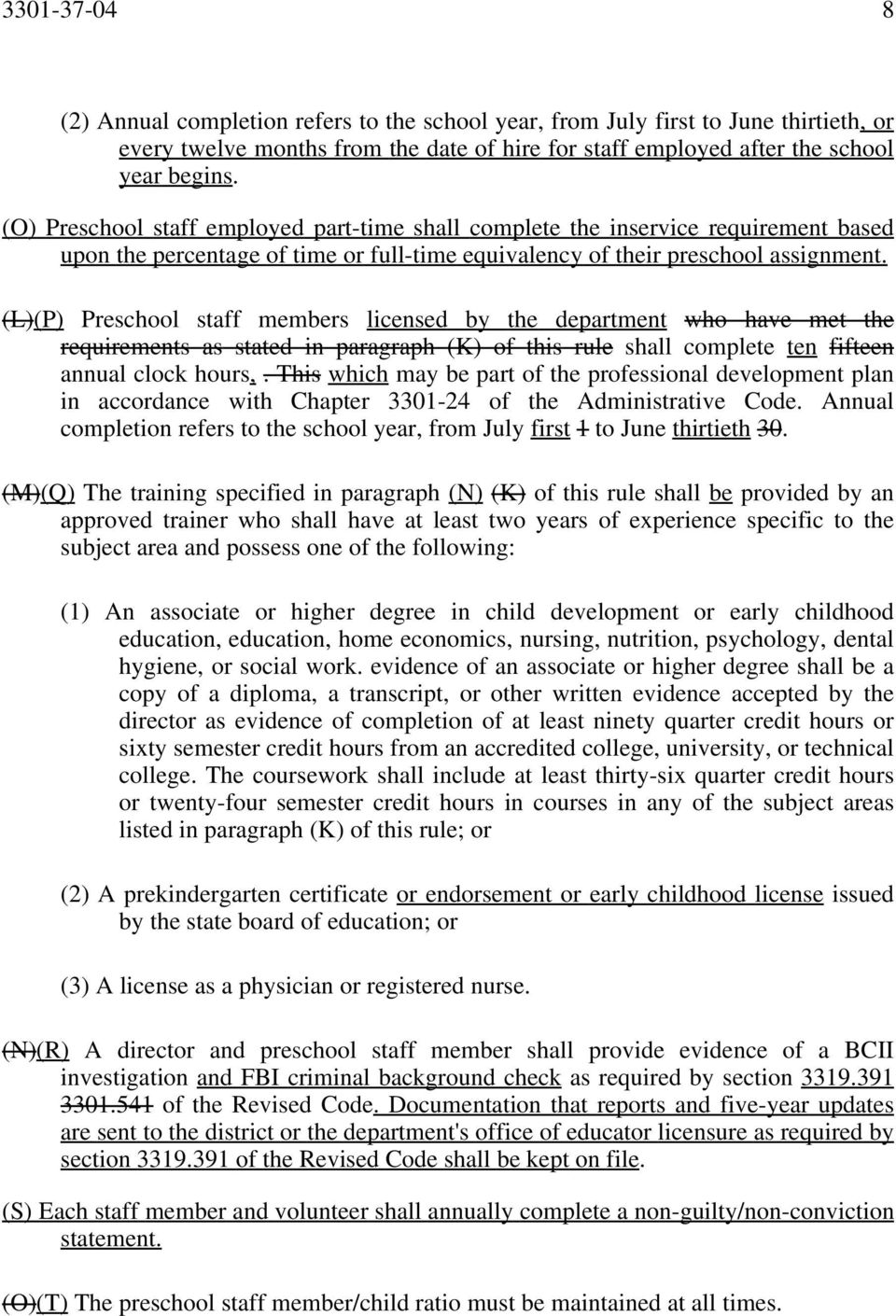 (L)(P) Preschool staff members licensed by the department who have met the requirements as stated in paragraph (K) of this rule shall complete ten fifteen annual clock hours,.