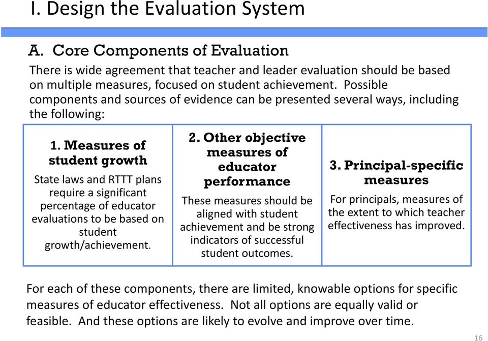 Measures of student growth State laws and RTTT plans require a significant percentage of educator evaluations to be based on student growth/achievement. 2.