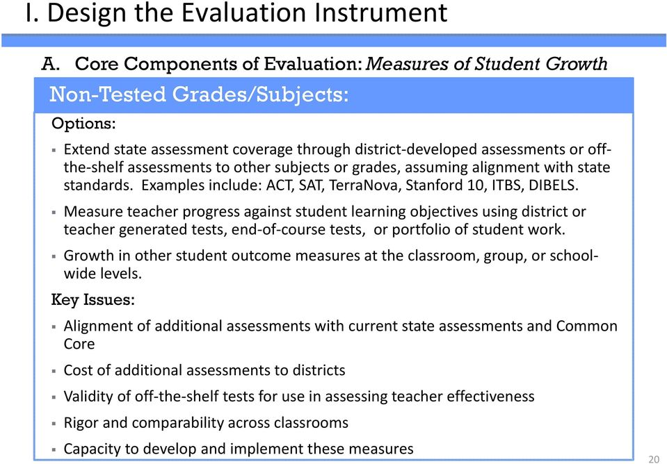 other subjects or grades, assuming alignment with state standards. Examples include: ACT, SAT, TerraNova, Stanford 10, ITBS, DIBELS.