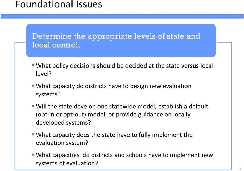What capacity do districts have to design new evaluation systems?