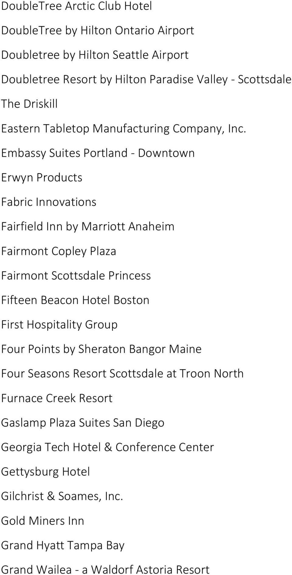 Embassy Suites Portland - Downtown Erwyn Products Fabric Innovations Fairfield Inn by Marriott Anaheim Fairmont Copley Plaza Fairmont Scottsdale Princess Fifteen Beacon Hotel