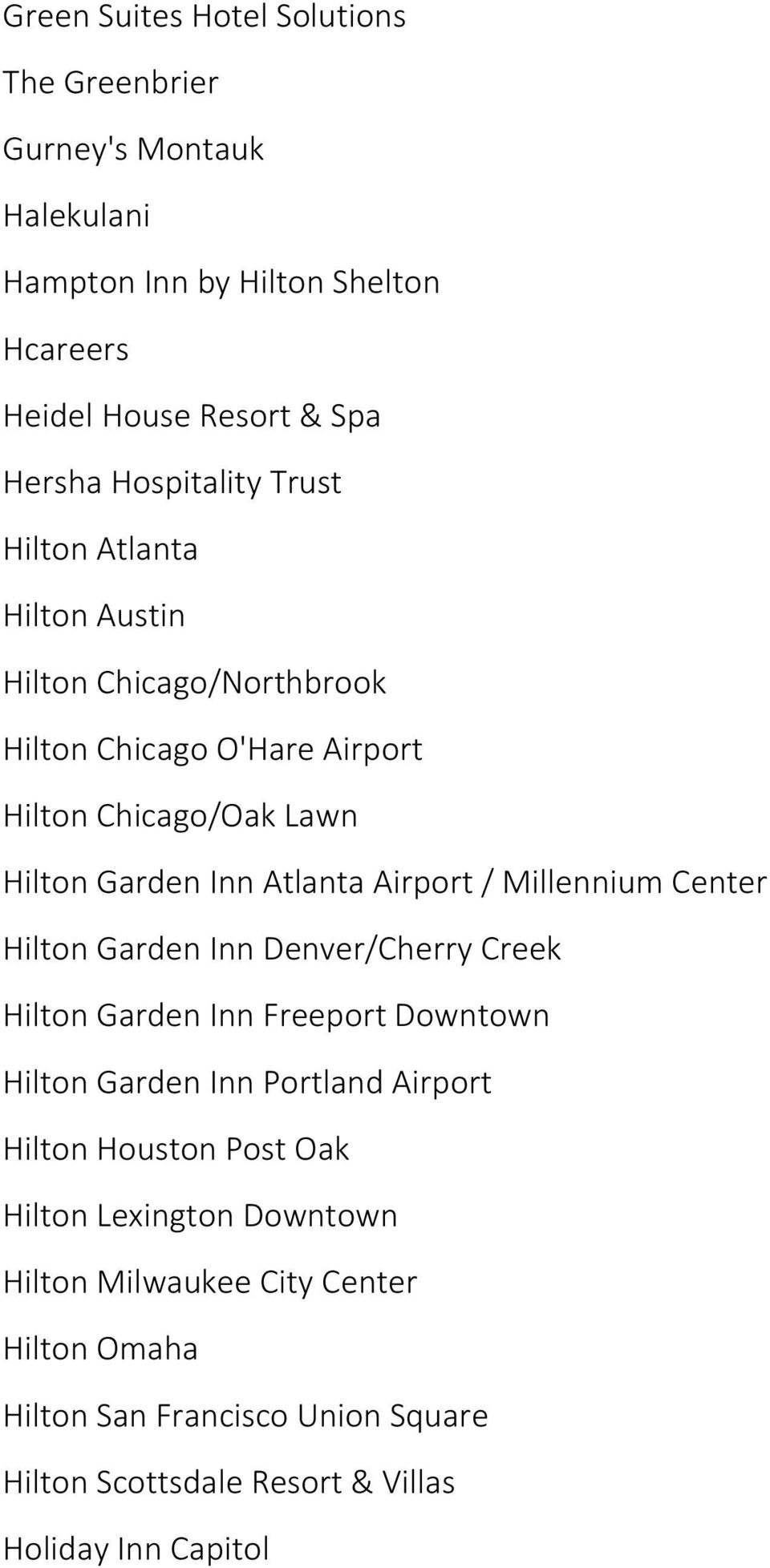 Airport / Millennium Center Hilton Garden Inn Denver/Cherry Creek Hilton Garden Inn Freeport Downtown Hilton Garden Inn Portland Airport Hilton Houston