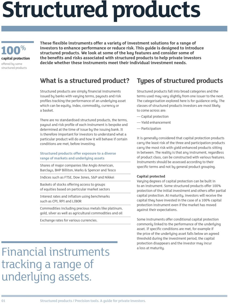 We look at some of the key features and consider some of the benefits and risks associated with structured products to help private investors decide whether these instruments meet their individual