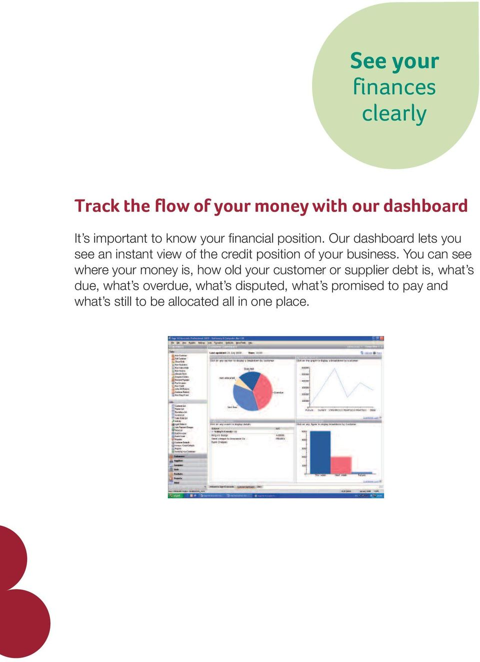 Our dashboard lets you see an instant view of the credit position of your business.