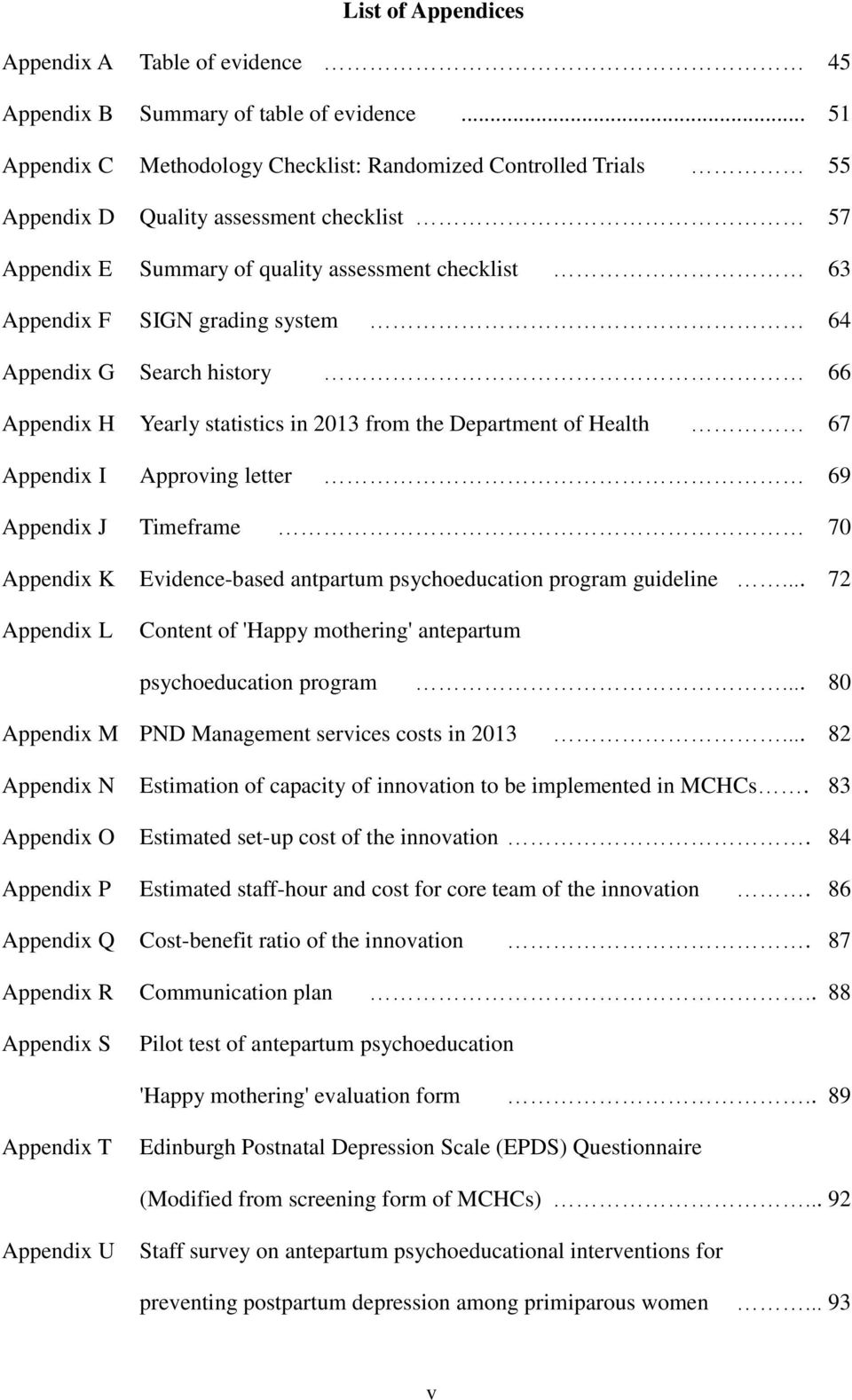 64 Appendix G Search history 66 Appendix H Yearly statistics in 2013 from the Department of Health 67 Appendix I Approving letter 69 Appendix J Timeframe 70 Appendix K Evidence-based antpartum