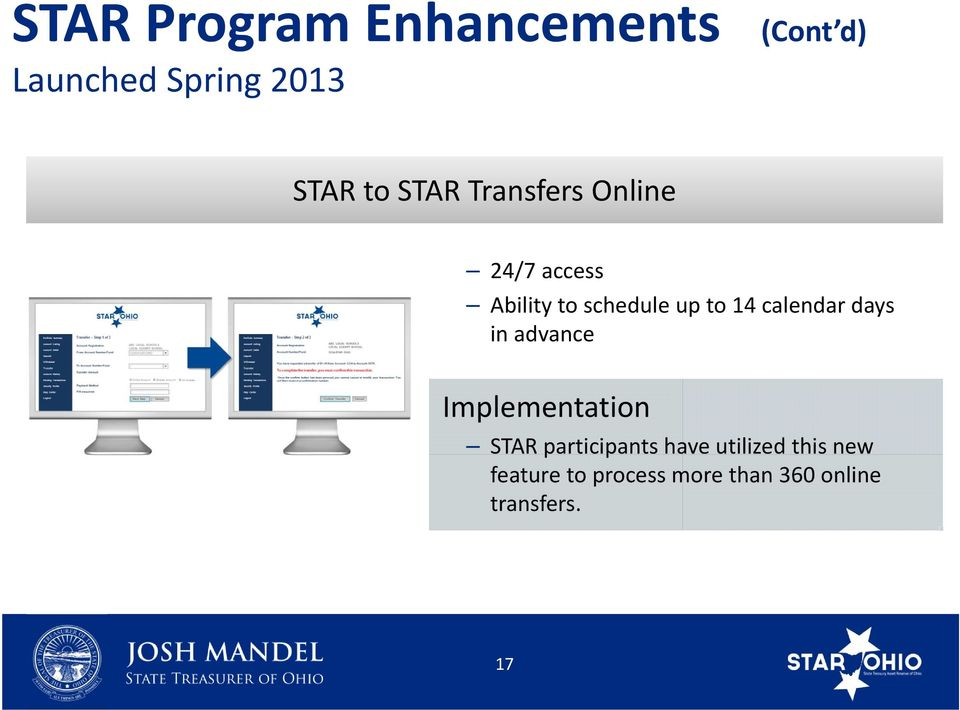 calendar days in advance Implementation STAR participants have