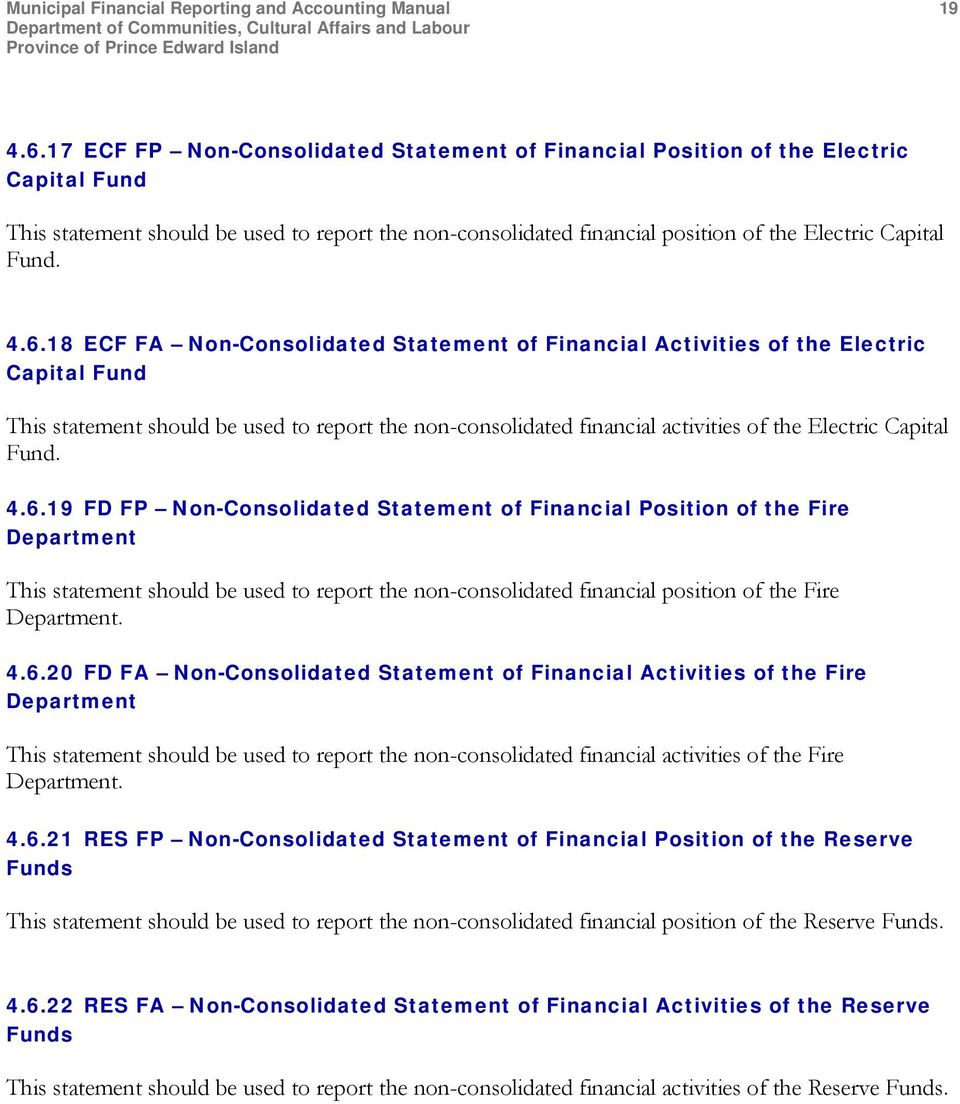 6.18 ECF FA Non-Consolidated Statement of Financial Activities of the Electric Capital Fund This statement should be used to report the non-consolidated financial activities of the Electric Capital