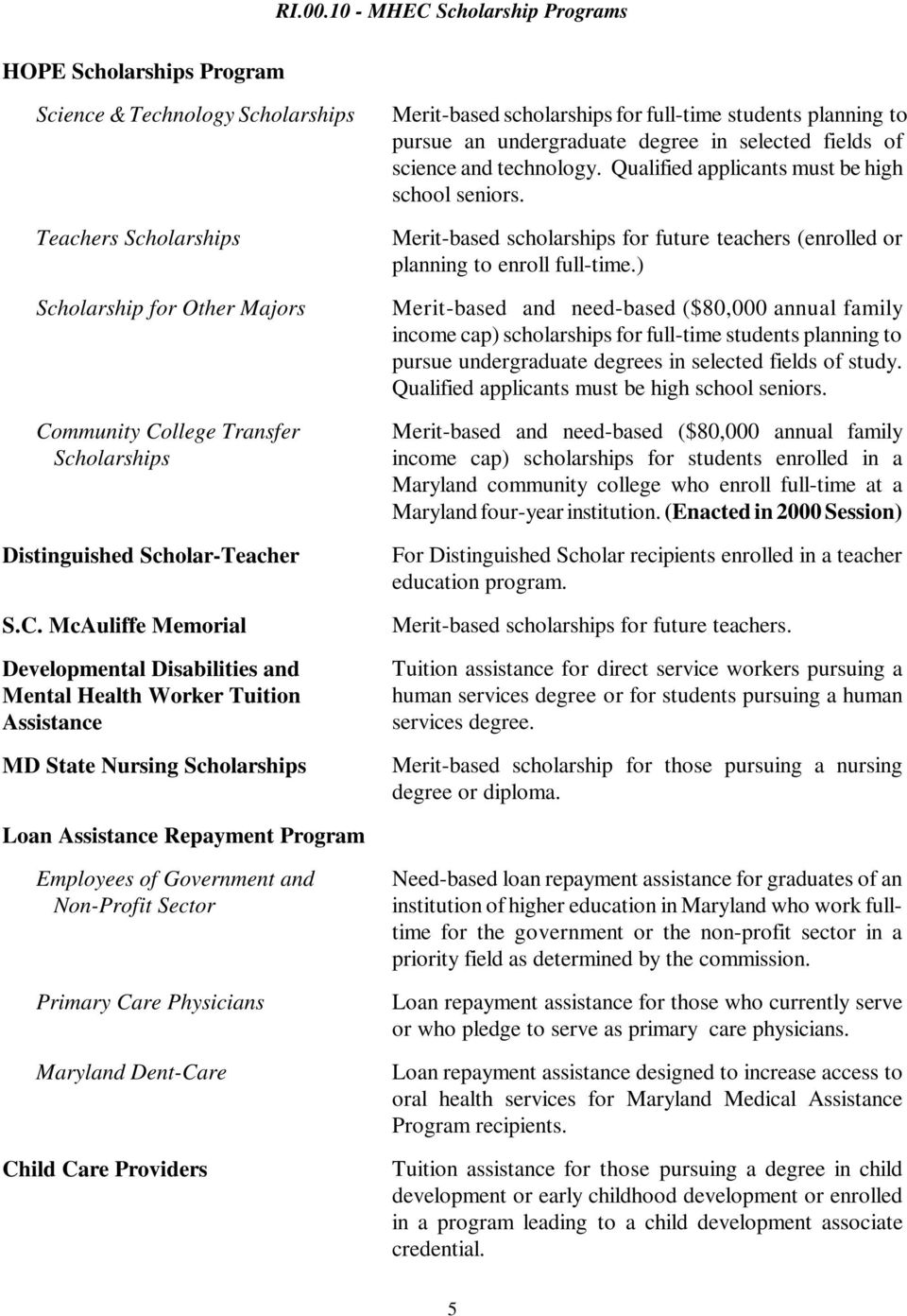 llege Transfer Scholarships Distinguished Scholar-Teacher S.C.