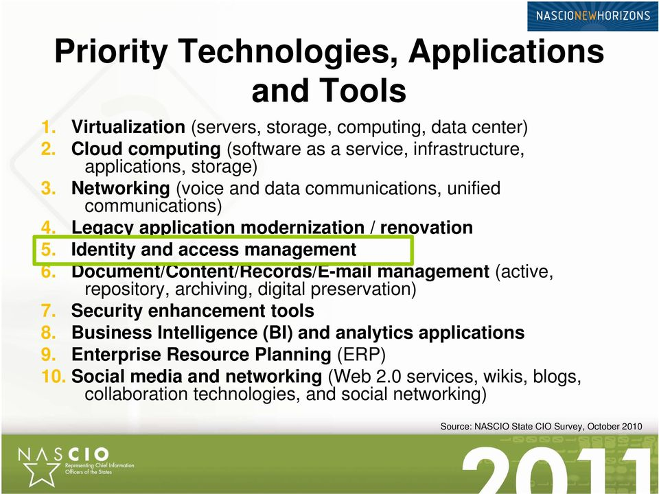 Legacy application modernization / renovation 5. Identity and access management 6. Document/Content/Records/E-mail management (active, repository, archiving, digital preservation) 7.