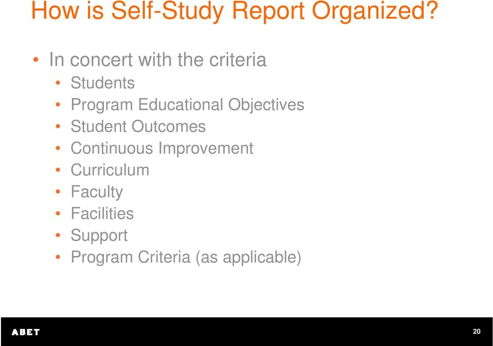 Educational Objectives Student Outcomes Continuous