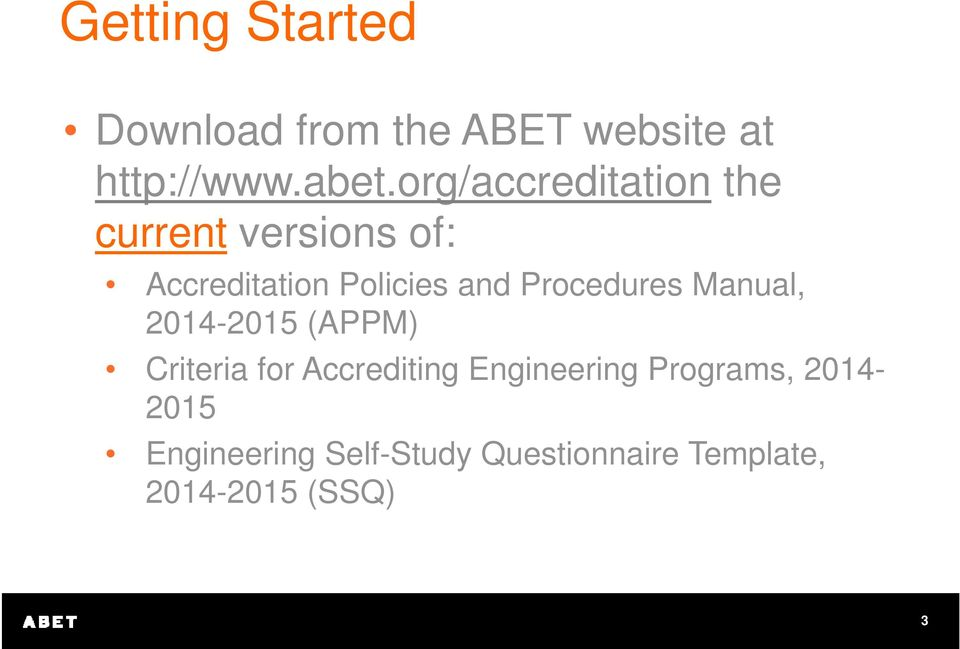 Procedures Manual, 2014-2015 (APPM) Criteria for Accrediting Engineering