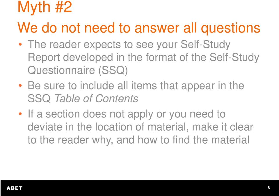 items that appear in the SSQ Table of Contents If a section does not apply or you need to
